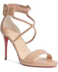 9362e1184bc2 Christian Louboutin - Choca 100 Beige Leather Stud Sandals - Lyst