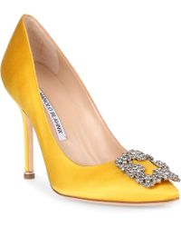 Manolo Blahnik - Hangisi 105 Yellow Satin Pump - Lyst