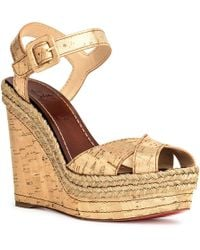 46bc13717e00 Lyst - Christian Louboutin Pyradiams 60 Liege Pepite Gold Wedges in ...