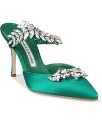 Manolo Blahnik Green Lurum 90 Mules