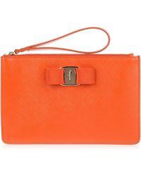 Ferragamo - Orange Leather Vara Pouch Us - Lyst
