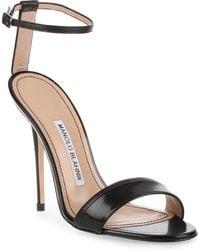 Manolo Blahnik - Spezia 115 Black Leather Sandal - Lyst