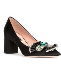 Rochas - Black Satin Crystal Embellished Court Shoes - Lyst