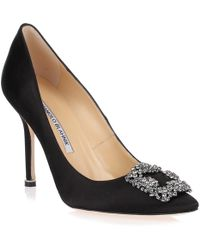 Manolo Blahnik - 105mm Hangisi Swarovski Silk Satin Court Shoes - Lyst