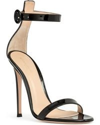 Gianvito Rossi Portofino 115 Black Patent Leather Sandals