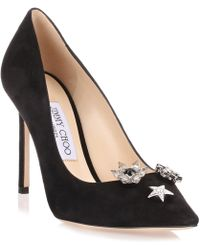 Jimmy Choo - Jasmine Black Suede Pump With Jewelled Buttons Us - Lyst