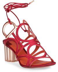Ferragamo - Vinci 55 Crepe Satin Sunstone Sandal - Lyst