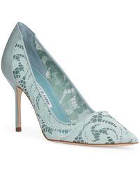 Manolo Blahnik - Bbla 90 Lace Green Court Shoes - Lyst