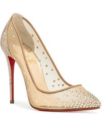 179b281fd30a Christian Louboutin - Women s Follies Strass 100 Illusion Leather Court  Shoes - Gold - Size 40.5
