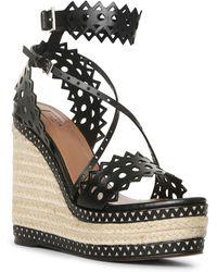 Alaïa - Black Leather Wedge Espadrille Sandals - Lyst