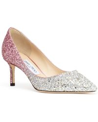 Jimmy Choo Romy 60 Silver Pink Glitter Court Shoes