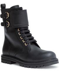 Ferragamo - Crotone Black Combat Boots - Lyst
