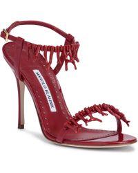 Manolo Blahnik - Cienzona 105 Red Patent Sandals - Lyst