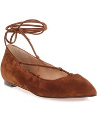 Gianvito Rossi - Brown Suede Lace Up Femi' Flat Us - Lyst