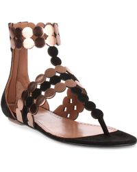 776a05614279f Alaïa - Black Suede And Metallic Leather Sandal Us - Lyst