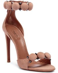 Alaïa - Leather Bombe Ankle Strap Sandals - Lyst