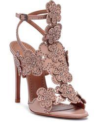 Alaïa - Tan Leather Floral Sandals - Lyst