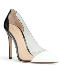 Gianvito Rossi Plexi 105 White And Black Patent Court Shoes