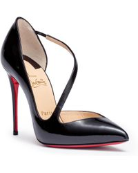 534f69fa2c2 Christian Louboutin - Jumping 100 Patent Black Sandals - Lyst