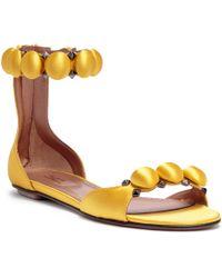 Alaïa - Yellow Satin Bomb Flat Sandals - Lyst