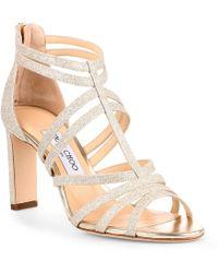 450246cc2d7 Lyst - Jimmy Choo Selina Glitter Strappy Sandal in Metallic
