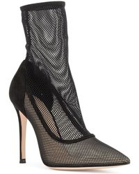 Gianvito Rossi - Erin Black Suede And Mesh Booties - Lyst
