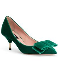 Rochas - Velvet Plateau Green 60 Court Shoes - Lyst