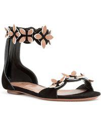 Alaïa - Black Suede Flower Flat Sandals - Lyst