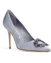 Manolo Blahnik - Bolliana 105 Light Purple Grey Satin Crystals Court Shoes - Lyst