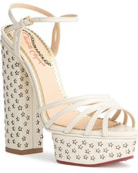 Charlotte Olympia - Rising Star White Leather Sandals - Lyst