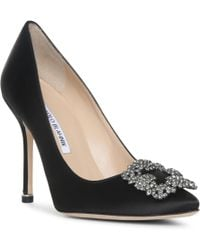 Manolo Blahnik - 105mm Hangisi Swarovski Silk Satin Pumps - Lyst