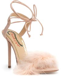 932ba7b8178 Charlotte Olympia - Light Pink 100 Feather Sandals - Lyst