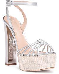Giuseppe Zanotti - Silver Metallic Leather Platform Sandals - Lyst