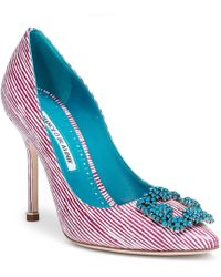 Manolo Blahnik - Hangisi 105 Leather Stripe Court Shoes - Lyst