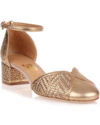 Ferragamo - Edda Metallic Gold Leather Sandal Us - Lyst
