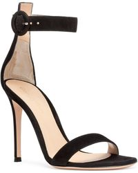 Gianvito Rossi - Portofino 105 Black Suede Sandals - Lyst