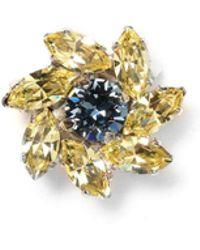 Jimmy Choo - Fleur Yellow Crystal Jewelled Button - Lyst