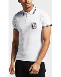 Versace - Tipped Logo Short Sleeve Polo Shirt - Lyst
