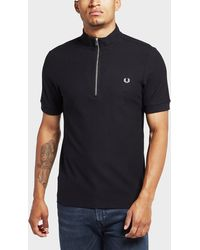 Fred Perry - Funnel Zip Neck Short Sleeve Polo Shirt - Lyst