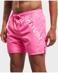 Calvin Klein - Angle Branded Swim Shorts - Online Exclusive - Lyst
