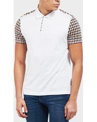 Aquascutum - Check Short Sleeve Polo Shirt - Lyst
