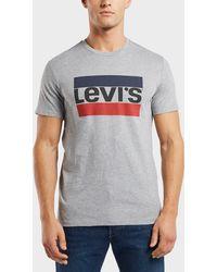 Levi's - Grey Logo Print T-shirt - Lyst