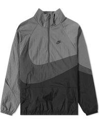 Nike - Nsw Black / Anthracite Oversized Swoosh Half Zip Jacket - Lyst