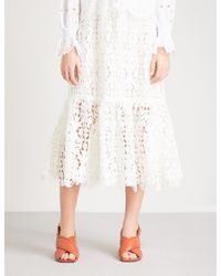 See By Chloé - Floral-embroidered High-rise Lace Midi Skirt - Lyst