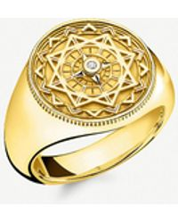 Thomas Sabo - Vintage Compass 18ct Yellow Gold-plated And Diamond Signet Ring - Lyst