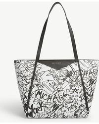 MICHAEL Michael Kors - Whitney Large Graffiti Leather Tote - Lyst