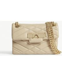 Kurt Geiger - Ladies Beige Timeless Mini Mayfair X Leather Shoulder Bag - Lyst