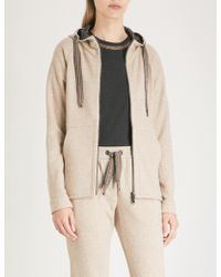 Brunello Cucinelli - Bead-trim Cashmere And Cotton-blend Hoody - Lyst
