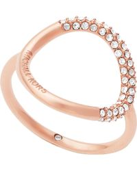 Michael Kors - Brilliance Rose Gold Pavé Ring - Lyst