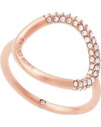 Michael Kors - Brilliance Rose Gold Pavé Ring - Lyst